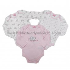 Q17870: Baby Girls Swan 3 Pack Long Sleeve Bodysuits (0-12 Months)