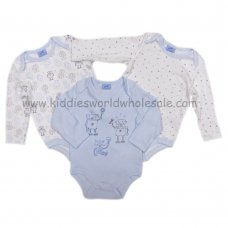 Q17877: Baby Boys Robots 3 Pack Long Sleeve Bodysuits (0-12 Months)