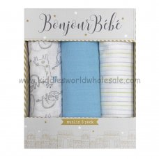 Q17899: Baby Blue Animals 3 Pack Muslin Swaddle (75 x 100 cm)
