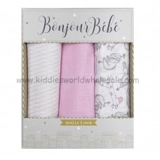 Q17900: Baby Pink Animals 3 Pack Muslin Swaddle (75 x 100 cm)