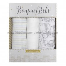 Q17901: Baby White Animals 3 Pack Muslin Swaddle (75 x 100 cm)