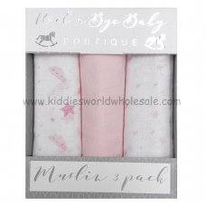Q17908: Baby Pink Moons & Stars 3 Pack Muslin Swaddle (75 x 100 cm)