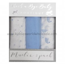 Q17909: Baby Blue Moons & Stars 3 Pack Muslin Swaddle (75 x 100 cm)