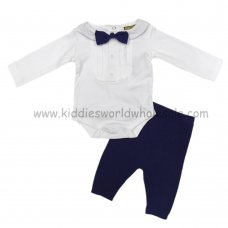 Q17923: Baby Boys Bodysuit With Knitted Bow Tie & Knitted Pant Outfit (0-12 Months)