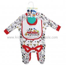Q17929: Baby Micky Mouse All In One, Bodysuit & Bib Set  (0-9 Months)