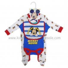 Q17930: Baby Micky Mouse All In One, Bodysuit & Bib Set (0-9 Months)
