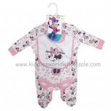 Q17934: Baby Minnie Mouse All In One, Bodysuit & Bib Set (0-9 Months)