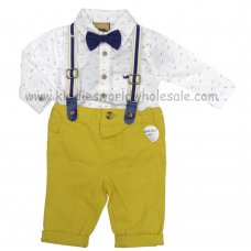 R18395: Baby Boys Bodysuit Shirt With Bow Tie & Chino Pant With Braces Outfit (0-18 Months)