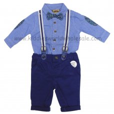 R18433: Baby Boys Bodysuit Shirt With Bow Tie & Chino Pant With Braces Outfit (0-18 Months)