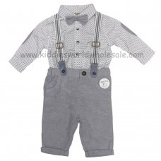 R18434: Baby Boys Bodysuit Shirt With Bow Tie & Trouser With Braces Outfit (0-18 Months)