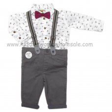 R18435: Baby Boys Bodysuit Shirt With Bow Tie & Chino Pant With Braces Outfit (0-18 Months)