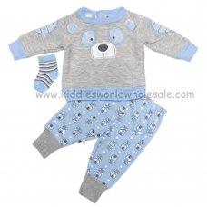 R18470: Baby Boys Bear 3 Piece Top, Jog Pant & Socks outfit  (0-9 Months)