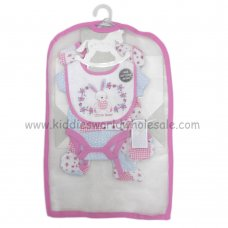 R18475: Baby Floral Bunny 6 Piece Net Bag Gift Set (NB-6 Months)