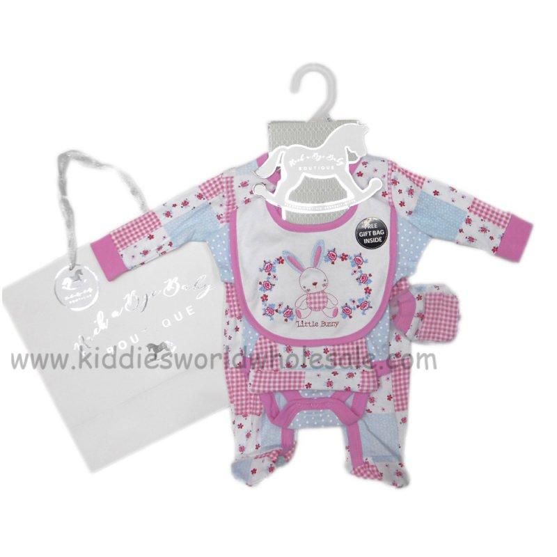 NB 5 Piece 0-3 3-6 months Baby Gift Set Sleepsuit,Vest,Hat,Mittens,Bib