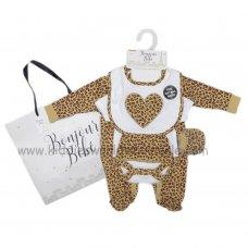 R18478: Baby Girls Leopard Print 6 Piece Net Bag Gift Set (NB-6 Months)