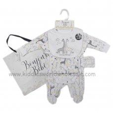 R18493: Baby Unisex Giraffes 6 Piece Net Bag Gift Set (NB-6 Months)