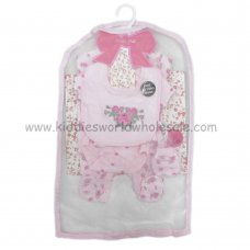 R18567: Baby Girls Floral 6 Piece Net Bag Gift Set (NB-6 Months)