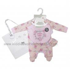 R18607: Baby Girls Lovely Little Me 6 Piece Net Bag Gift Set (NB-6 Months)