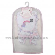 R18719: Baby Girls Unicorn 6 Piece Net Bag Gift Set (NB-6 Months)