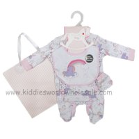 R18719: Baby Girls Unicorn 6 Piece Net Bag Gift Set (NB-6 Months)