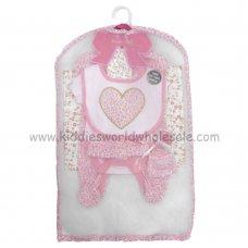 R18723: Baby Girls Pink Leopard Print 6 Piece Net Bag Gift Set (NB-6 Months)