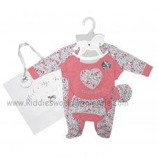 R18825: Baby Girls Floral 6 Piece Net Bag Gift Set (NB-6 Months)