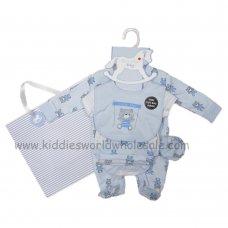 R18873: Baby Boys Little Bear 6 Piece Net Bag Gift Set (NB-6 Months)