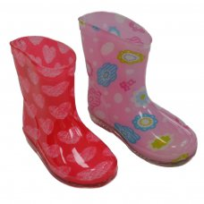RB15: Girls Flowers/Hearts Wellington Boots (15-24 Months)