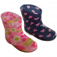 RB17: Girls Flowers/Hearts Wellington Boots (15-24 Months)
