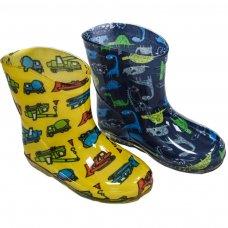 RB19: Boys Dinosaurs/Vehicles Wellington Boots (15-24 Months)