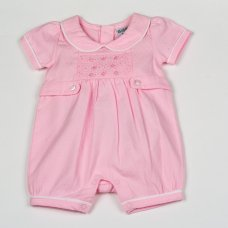 H1925: Baby Girls Smocked Doby Romper (NB-6 Months)
