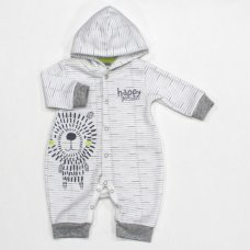 L1064: Baby Boys Lion Hooded Romper (0-9 Months)