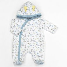 L1070: Baby Boys Safari Quilted Hooded All In One (0-9 Months)