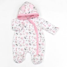 L1074: Baby Girls Safari Quilted Hooded All In One (0-9 Months)