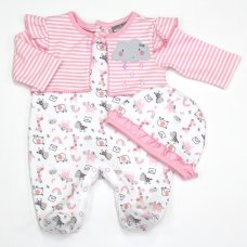 L1076: Baby Girls Safari Quilted All In One With Mock Cardigan and Hat Set (0-9 Months)