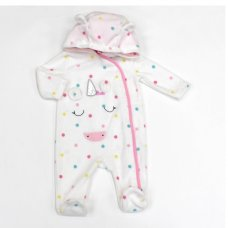 L2119: Baby Unicorn All Over Print Fleece All In One/ Onesie (3-12 Months)