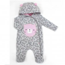 L2120: Baby Cat All Over Print Fleece All In One/ Onesie (3-12 Months)