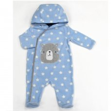 L2121: Baby Bear All Over Print Fleece All In One/ Onesie (3-12 Months)