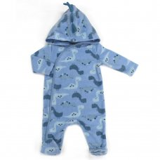 L2122: Baby Dinosaur All Over Print Fleece All In One/ Onesie (3-12 Months)