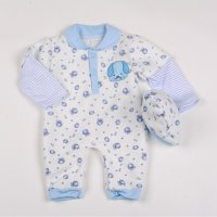 Y1849: Baby Boys AOP Puppy Quilted Romper & Hat Set (NB-6 Months)