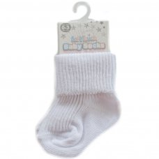 S02-W-03: Plain White Turnover Socks (0-3m)