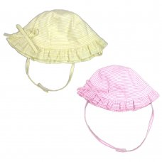 0233: Baby Girls Stripe Cloche With Bow (0-6 Months)