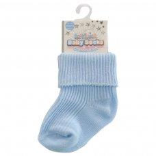 S03-B-NB: Plain Blue Turnover Socks (Newborn)