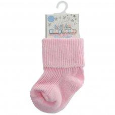 S03-P-NB: Plain Pink Turnover Socks (Newborn)