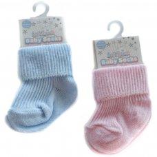 S03-P/B-NB: Plain Coloured Turnover Socks (Newborn)