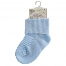 S04-B-03: Plain Blue Turnover Socks (0-3M)