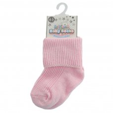 S04-P-03: Plain Pink Turnover Socks (0-3M)