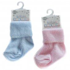 S04-P/B-03: Plain Coloured Turnover Socks (0-3M)