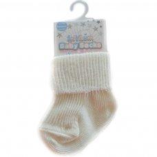 S05-C-NB: Plain Cream Turnover Socks (Newborn)