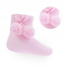 S09-P: Pink Pom Pom Ankle Socks (0-24 Months)
